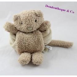 Doudou mouchoir chat JELLYCAT beige poils longs 23 cm