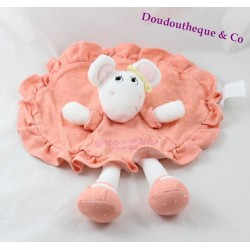 Doudou plat souris KIMBALOO robe rond rose saumon Little Candy Brioche 29 cm