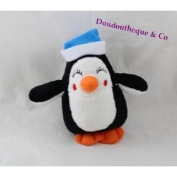 Plush Penguin PRIMARK EARLY DAYS black and white bonnet blue 15 cm