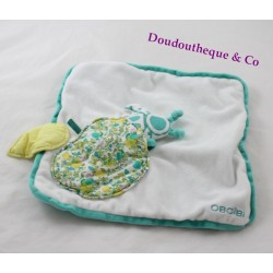 Doudou flat square white Apple green OBAÏBI bee sheet 24 cm