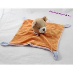 Doudou plat ours CP INTERNATIONAL orange grelot 27 cm