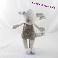 Peluche mouton OBAIBI marron et blanc 27 cm