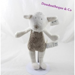 Plush sheep Don Brown and white 27cm OBAÏBI