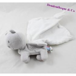 Doudou mouchoir chat SUCRE D'ORGE Cajou gris blanc 14 cm
