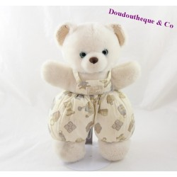 Teddy bear bread and chocolate Vintage bib patterned blue eyes 26 cm