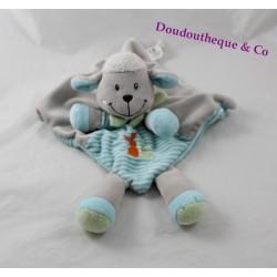 Doudou plat mouton NICOTOY bleu gris écharpe verte  32 cm