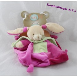 Doudou rabbit mem dish not cap / mem pacap BABY NAT pink and green