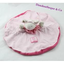 Doudou plat Lila souris MOULIN ROTY rond rose marionnette Lila et Patachon