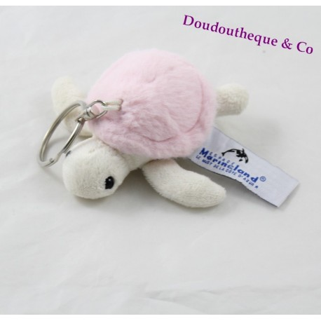 Porte clés peluche tortue MARINELAND rose blanc 10 cm