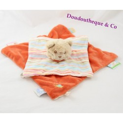 Doudou plat chat NOUKIE'S Fidji orange beige rayures 27 cm