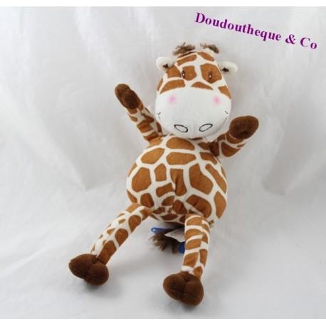 Peluche girafe CARRE BLANC tâches marron beige 32 cm