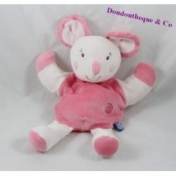 Doudou marionnette souris SUCRE D'ORGE spirales rose 26 cm