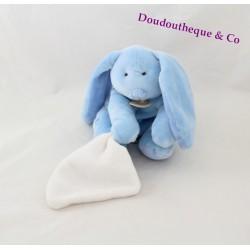 """Doudou lapin DOUDOU ET COMPAGNIE  bleu mouchoir blanc """"mon doudou"""" fleur 14 cm assis"""