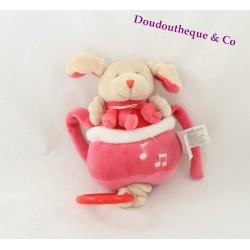 Peluche musicale chien DOUDOU ET COMPAGNIE cueillette rouge rose et beige