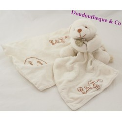 Doudou ours bio DOUDOU ET COMPAGNIE mouchoir blanc 17 cm + sac