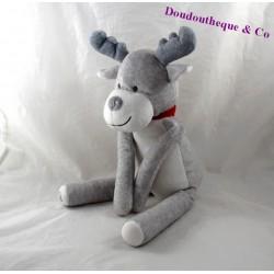 Peluche cerf OBAIBI renne gris écharpe rouge 26 cm