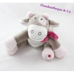 Peluche Lola vache NOUKIE'S Victoria et Lucie écharpe rose gris blanc 25 cm