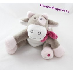 Plush cow Lola NOUKIE's Victoria and Lucie grey pink scarf white 25 cm