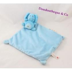 Doudou plat éléphant NICOTOY bleu croix étiquettes losange 33 cm