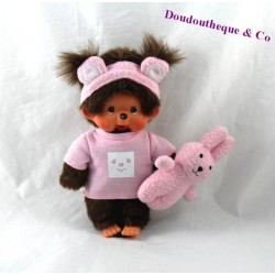 Ragazza Monchhichi SEKIGUCHI Kiki doudou coniglio di peluche rosa cm 21