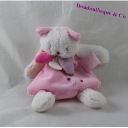 Doudou plat chat DOUDOU ET COMPAGNIE Les Gommettes rose blanc DC2967 19 cm