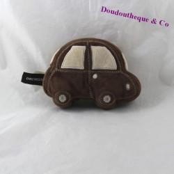Doudou sonore voiture ORCHESTRA marron beige 12 cm