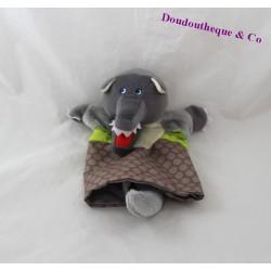 Doudou marionnette loup HABA gris vert 24 cm