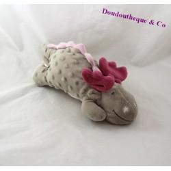 Peluche Victoria dragon NOUKIE'S Victoria et Lucie allongé gris rose 28 cm