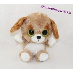 Peluche chien BAZOOKA marron gros yeux verts 24 cm