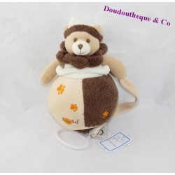BABY NAT bear musical plush brown beige imprints 22 cm