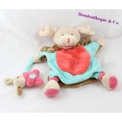 Doudou marionnette chien DOUDOU ET COMPAGNIE Fraise bleu rose DC2572 26 cm