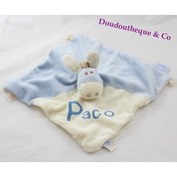 Doudou flat donkey Paco NOUKIE's puppet blue and beige embroidered