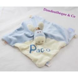 Doudou plat âne Paco NOUKIE'S marionnette bleu et beige brodé