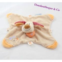 Doudou plat Bo chien NATTOU beige orange coeur marionnette 27 cm