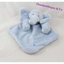 Doudou plat Baby Elephant bleu losange empreinte 30 cm