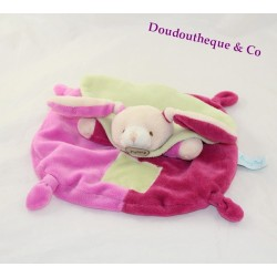 Doudou rabbit flat BABY NAT' pink green pacap BN731 mem
