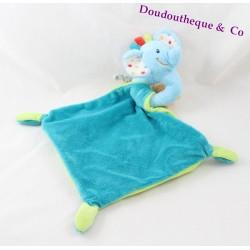 Doudou plat éléphant NICOTOY bleu vert losange Happy Circus 24 cm