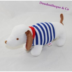 Peluche chien JACADI marinière bleu blanc rouge 22 cm