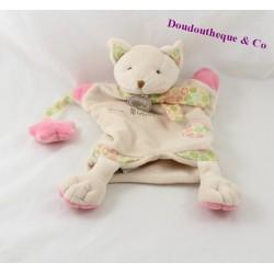 Doudou marionnette chat BABY NAT' Mme Miaou beige étoile rose 27 cm
