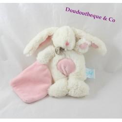Doudou mouchoir lapin BABY NAT blanc mouchoir rose 21 cm