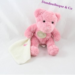 Doudou Ours BABY NAT' ours rose mouchoir blanc 20 cm