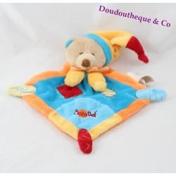 Doudou plat Ours BABY NAT' losange orange et bleu 20 cm