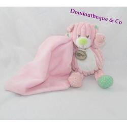 Doudou ours mouchoir BABY NAT rose 17cm