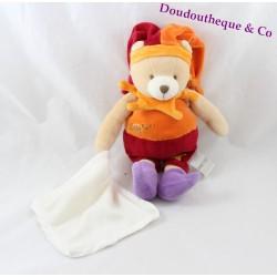 Doudou Ours BABY NAT' arlequin orange rouge mouchoir 30 cm