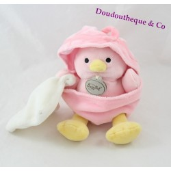 Doudou Poussin BABY NAT'  mouchoir blanc coquille rose 20 cm