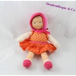 Doudou poupée bébé COROLLE orange rose