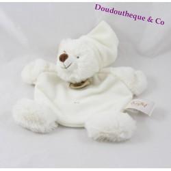 Doudou plat Ours BABY NAT' blanc bonnet croix Câlin 20 cm
