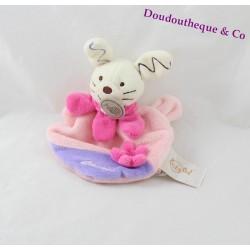 Mini doudou lapin BABY NAT' rose mauve fleur rose 16 cm
