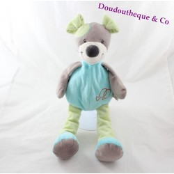 Blanky dog DOUKIDOU blue and green embroidered fish 38 cm