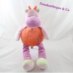 Doudou vache DOUKIDOU / DOU KIDOU 36cm orange / mauve